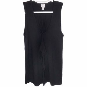 TRISTAN SLEEVELESS BLACK TANK TOP WITH EXTRA FABRIC AT THE FRONT - SMALL